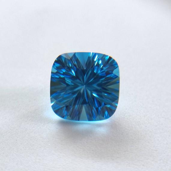 SWISS BLUE TOPAZ 12 MM SQUARE CUT  AAA ALL NATURAL