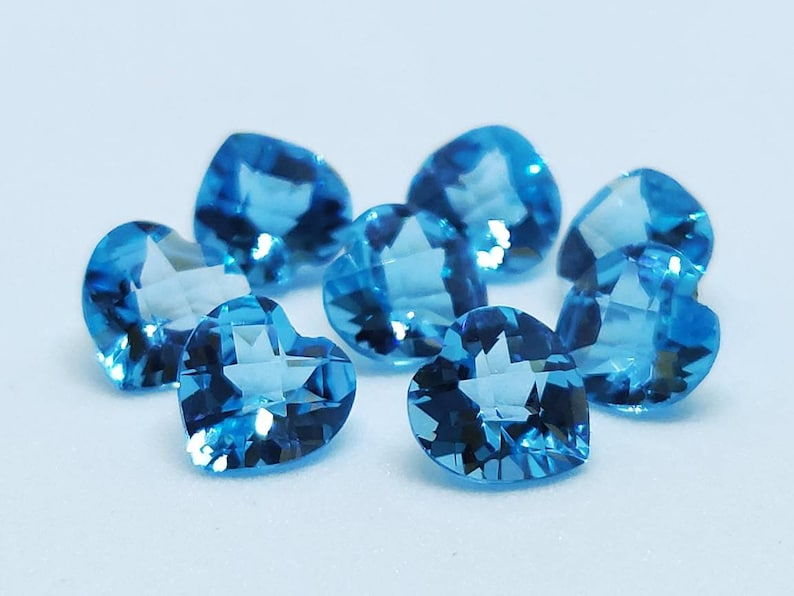 Swiss Blue Topaz Beautiful Heart Shape Chequered Cut Blue color 6mm 13pcs 9.63cts AAA Quality in Wholesale Price