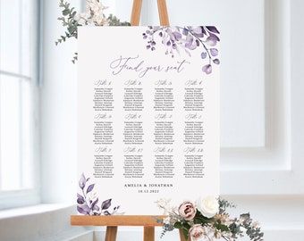 Wedding seating chart template Table seating chart printable Purple wedding Diy seating plan template Lavender wedding watercolor 1W38