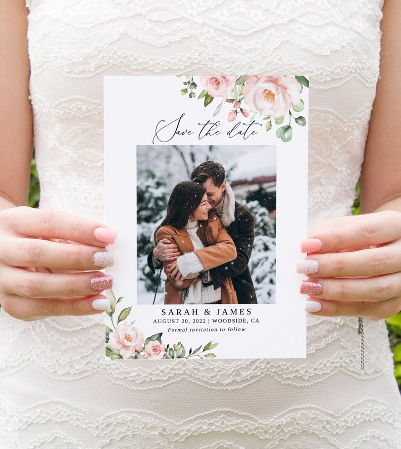 Templett Editable Template Photo Save the Date Photo Wedding Save the Date #B33 Blush Wedding Save the Date Template
