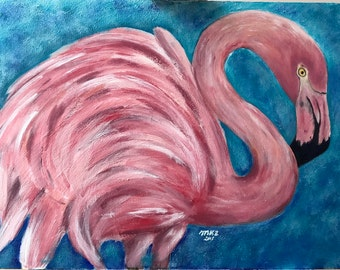 Pink flamingo painting in acrylics 18 by 24 on canvas board