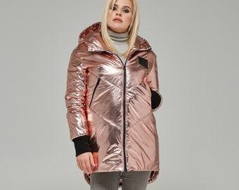 Trendy Metallic Rose Gold Jacket K-66
