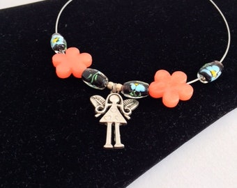 Tinkerbell necklace orange flower beads.