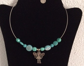 Tinkerbell necklace turquoise beads.