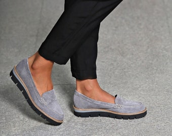 Gray suede loafers / Women's casual shoes / Comfortable slip on shoes / Classic model