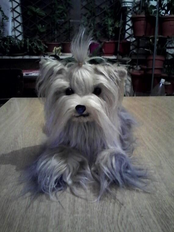 Plush Dog Long Hair Yorkshire Terrier