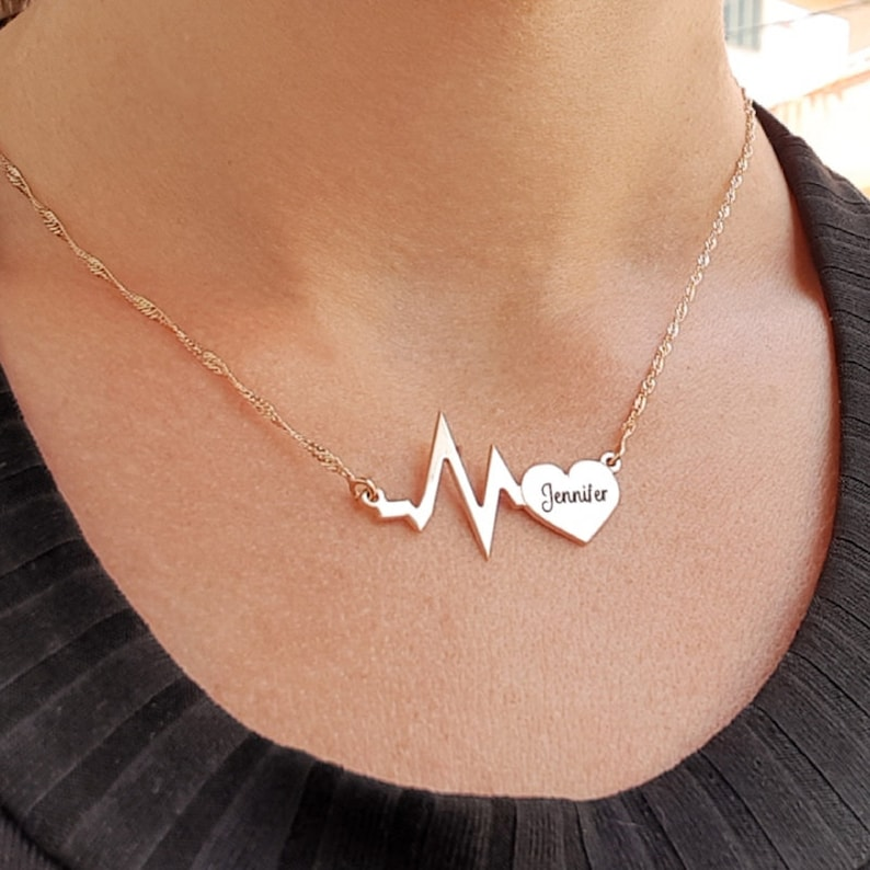 Heart pulse Name Necklace 18k gold Plated or Sterling Silver custom personalized gift engraved name necklace