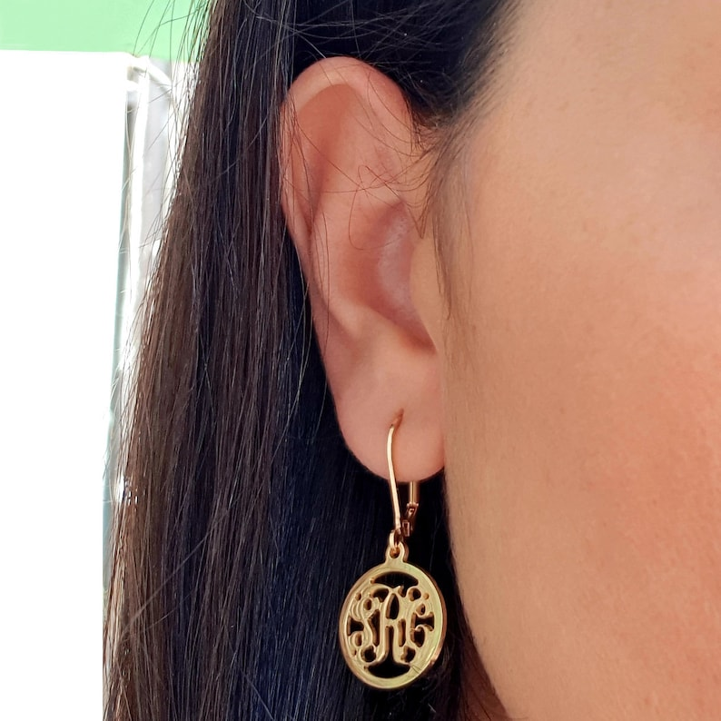 Drop Monogram Earrings 3 letters initials name, 18k Gold plated or Sterling  Silver personalized Earrings custom engraved personalized gift