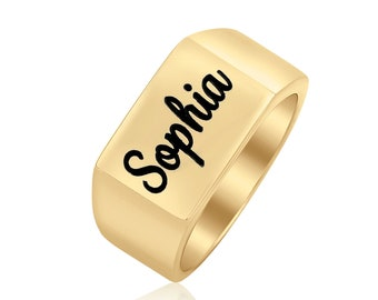 Special Sale Sterling Silver or 18k Gold plated rectangle signet Name Ring personalized monogram gift custom engraved