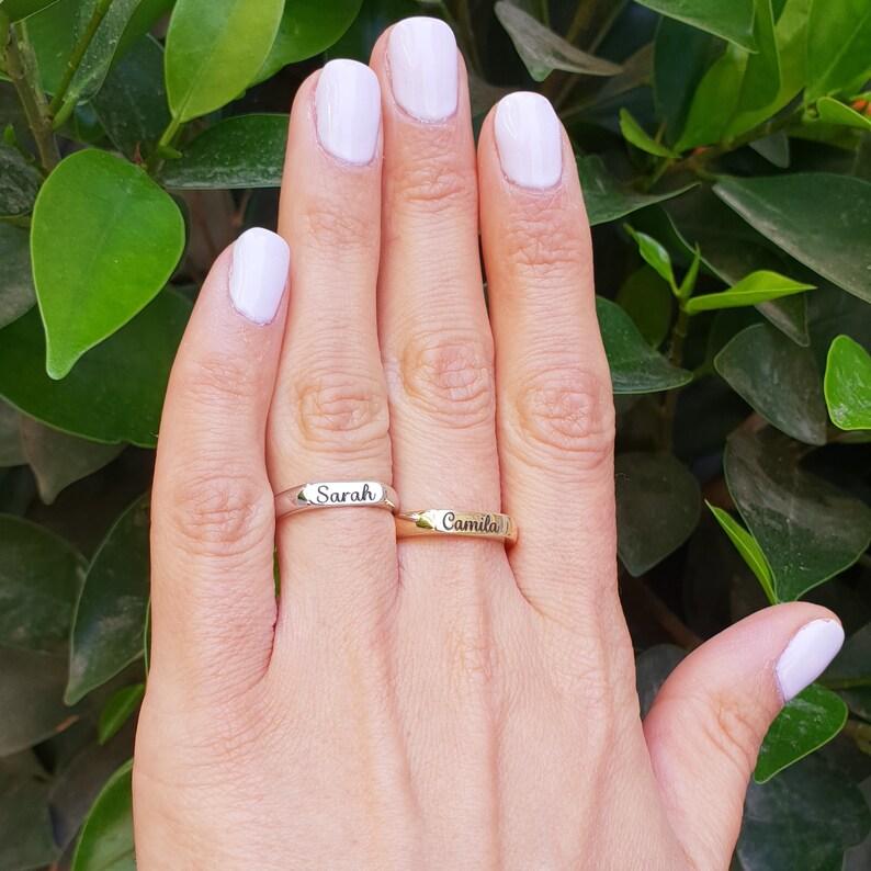 Stackable Name Ring 14 Karat Gold custom personalized engraved name Ring Personalized gift