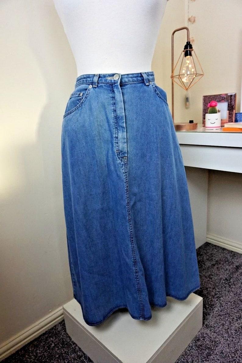 08ad8fe8937c8 St Michael Long Length Denim Skirt Size UK 12