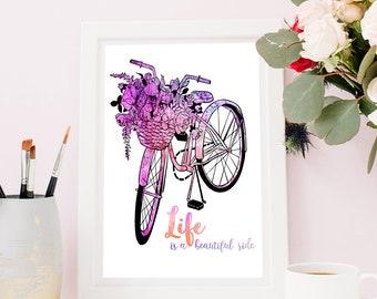 Handpainted Watercolor Spring Bike Floral Art | PRINTABLE | Art Print | Digital Download | Aquarelle Ink | Painting