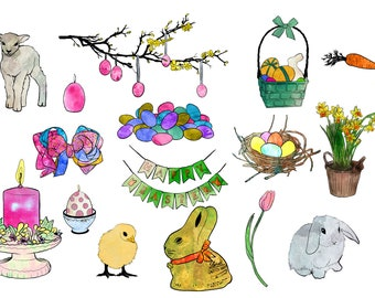 hand painted Clipart Ink Watercolor Graphics | Easter | Painting Sketch Artwork | high resolution Printable | PNG PSD