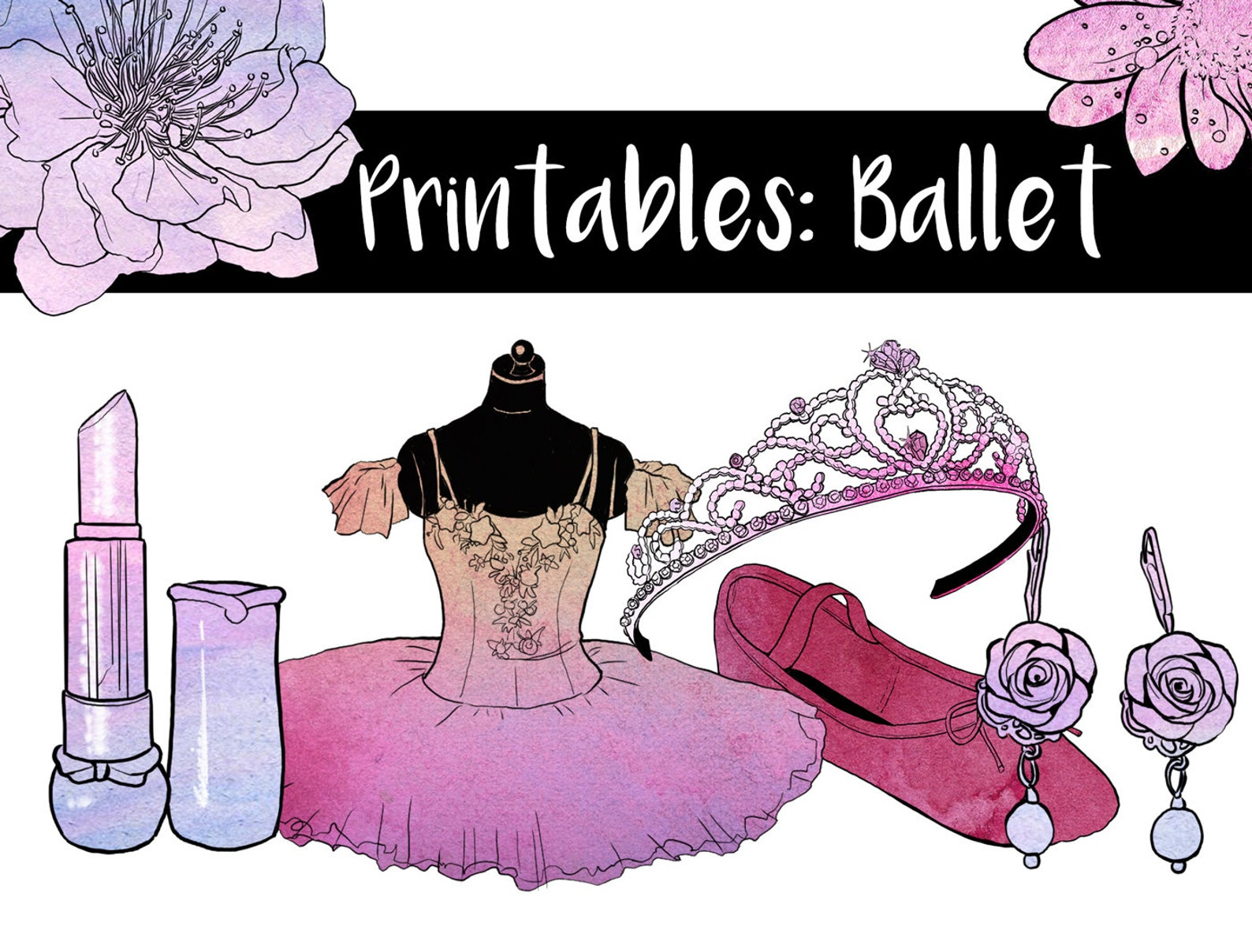 56 hand painted clipart ink watercolor graphics | ballet dancing | painting sketch artwork | high resolution printable | png