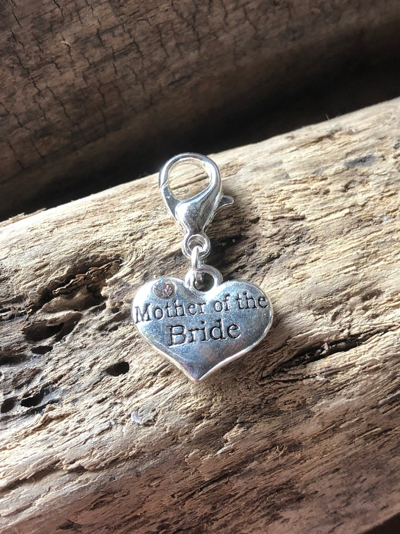 groom,hen party,bridesmaid,mother of the bride,mother of the groom,etc silver heart charm wedding clip on,bride Personlised Wedding charm