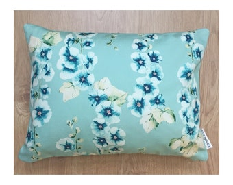 Floral cushion in hand-painted Hollyhock Aqua print fabric