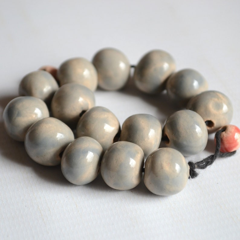 Grey beads 14 mm 15 pcs spherical beads for jewelry making or macrame Ball beads. Round beads