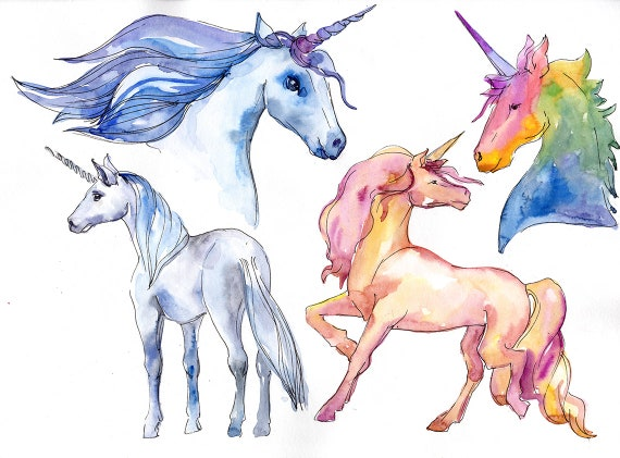 Watercolor Unicorn Clipart, Free Commercial Use, Hand Painted, Digital  Download, PNG, DIY Cards, Unicorn Painting