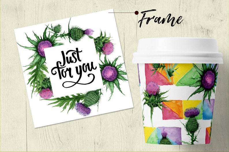 Hand Painted Wedding Invitation Thistle Flowers Watercolor Set Greeting Cards Digital Flowers Free Commercial Use Clipart DIY Invites