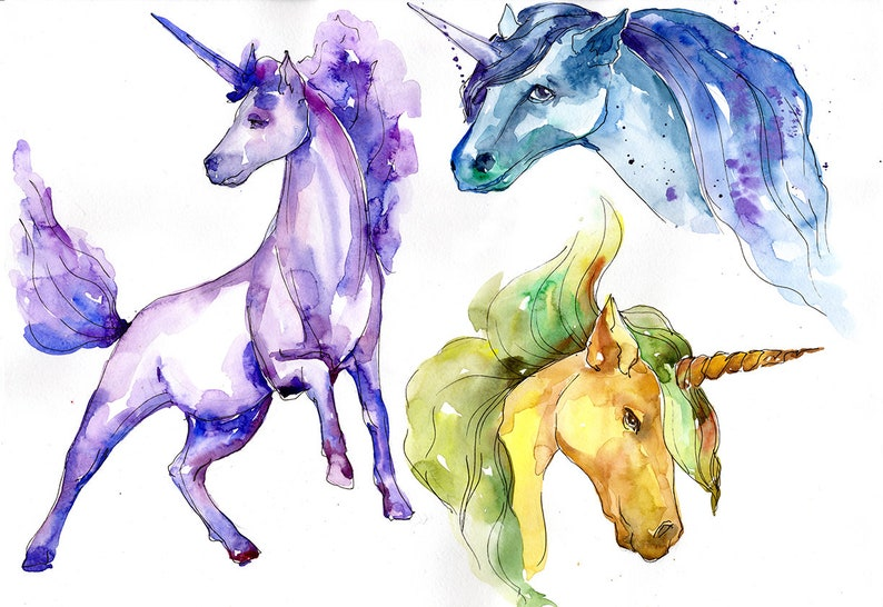 Unicorn Watercolor Clipart, Free Commercial Use, Hand Painted, Digital  Download, PNG, DIY Cards, Unicorn Painting