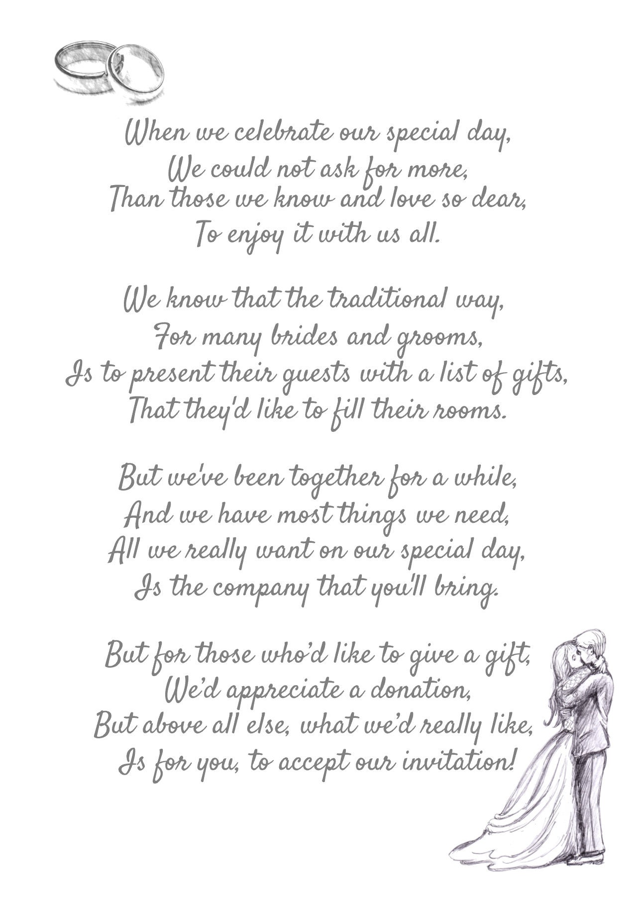 50 POEMS A6 Wedding Money Request Poem to Place Inside Wedding   Etsy