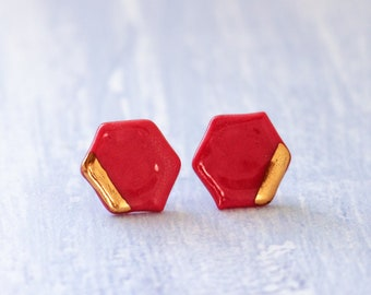 red hexagon earrings pottery
