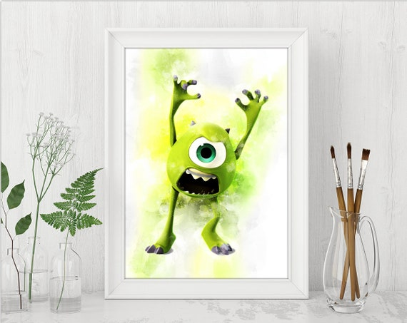 Monsters Inc Mike Wazowski Wall Art Print Monsters Inc Etsy