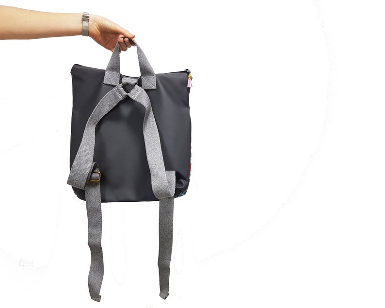 women backpack made of faux leather /& cotton Pink and Grey backpack