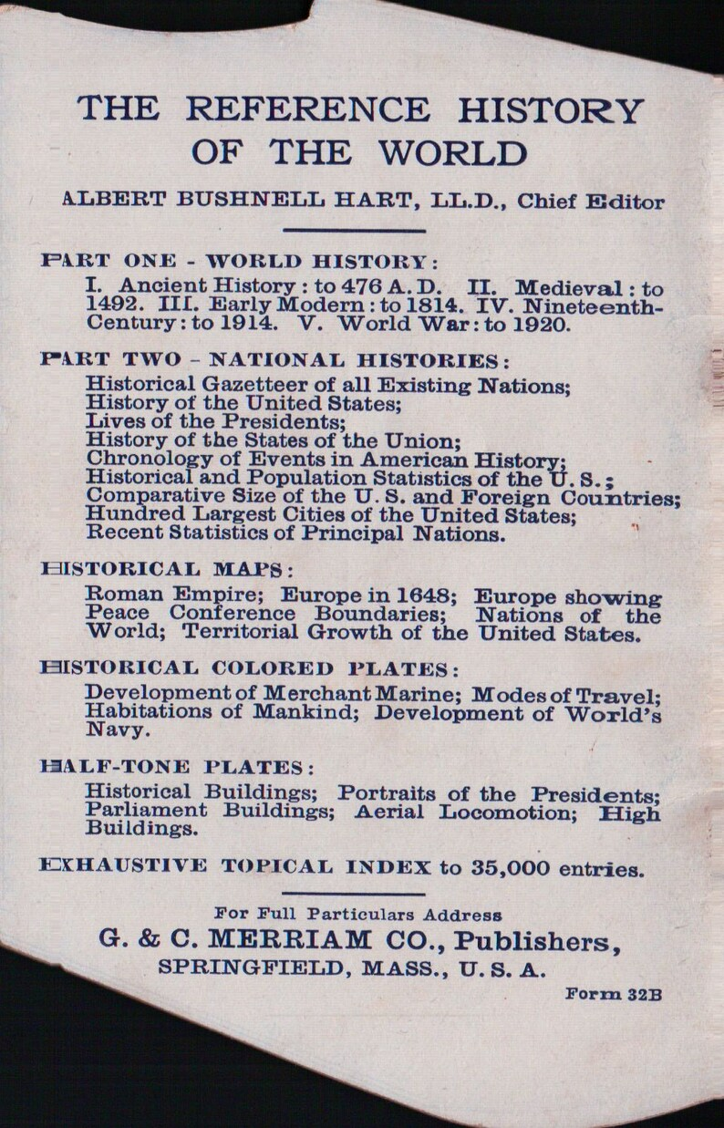 1909 Book Shaped Webster Dictionary Vintage Advertisement