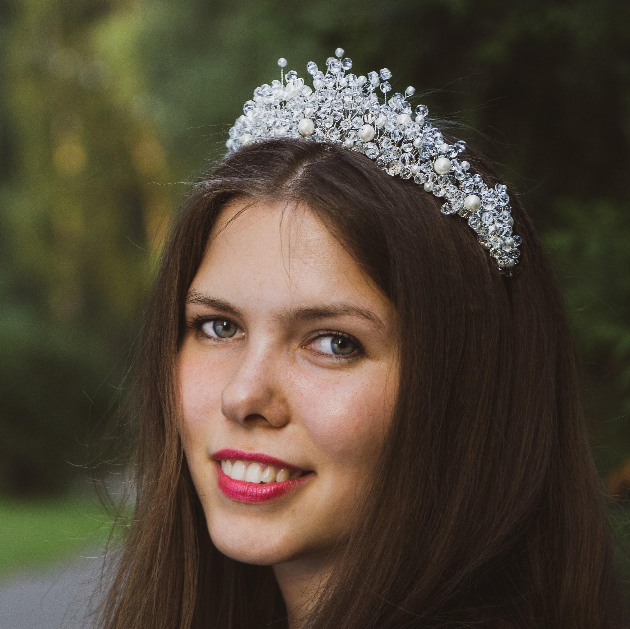 Diamond CrownClear Crystal Wedding CrownBridal CrownBridal HeadpieceCrystal Wedding Tiara