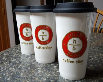 Company Logo Promotional Hand-painted Custom Personalized Travel Coffee Mug with Black Silicone Lid