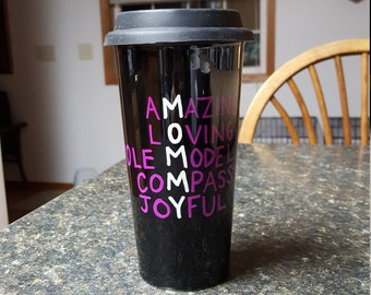Mommy Acrostic Poem Hand-painted Custom Personalized Travel Coffee Mug with Black Silicone Lid