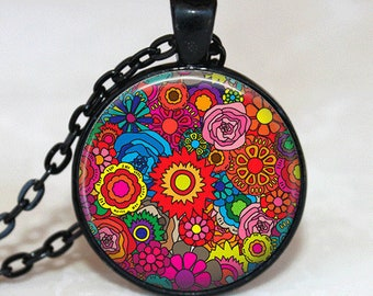 Flower Necklace Flower Jewelry Glass Tile Jewelry Pink Necklace Pink Jewelry Silver Jewelry Daisy Jewelry Silver Necklace Black Jewelry