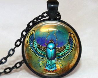 Scarab Necklace Glass Tile Necklace Egyptian Necklace Glass Tile Jewelry Egyptian Jewelry Silver Jewelry  Silver Necklace Black Jewelry