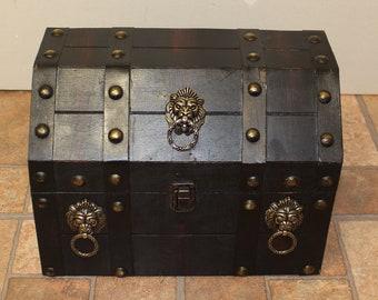 Antique Style Dark Brown Treasure Chest