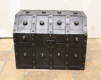 Dark Brown Wooden Treasure Chest with Metal Studs