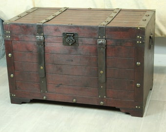 Large Wooden Brown Storage Trunk