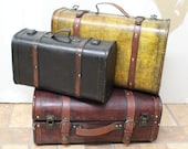 Antique Style Wooden Luggage Suitcases Set of 3 in 3 Colors