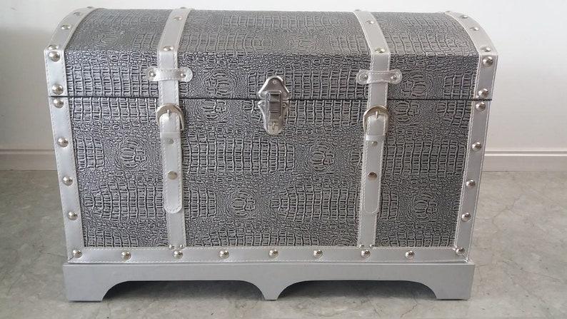 Silver Faux Leather Decorative Storage Trunk