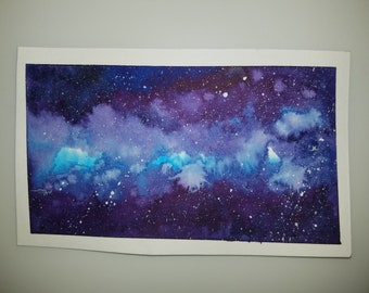 Dark Blue Galaxy Original Watercolor Painting