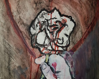 Let Go- art charcoal  expressive mixed media original