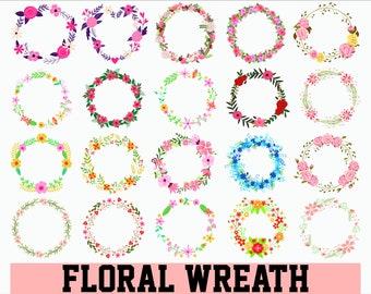Floral wreath SVG / Floral frames SVG / Laurel wreath SVG / Hand-drawn wreaths / Floral circle svg / Floral ornament svg / wedding