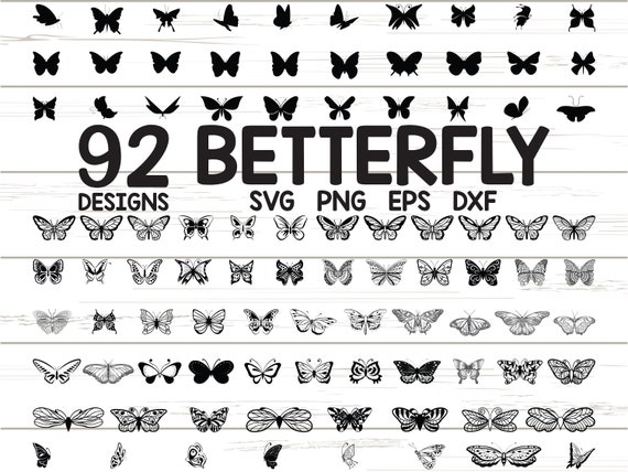 92 x Butterfly SVG / Png300ppi / EPS / Dxf / Cute Butterfly / Cricut / Silhouette / Butterflies SVG cutting files / Clipart / Vector