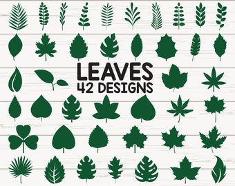 Paper Leaves SVG/ Leaf Templates/ Cut Files for Cricut/ Silhouette/ Clipart/ Vector