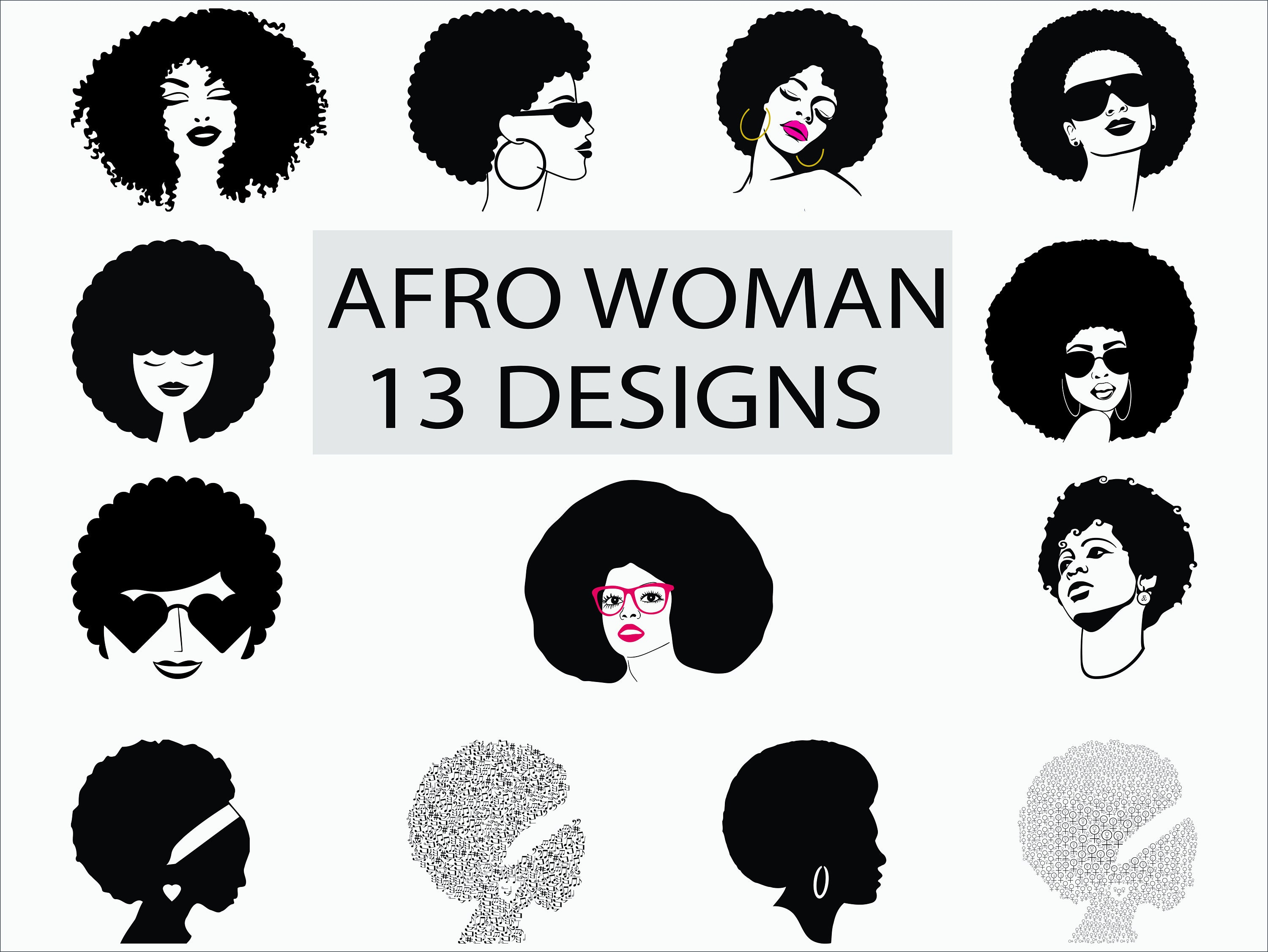 Afro Woman Svgpngepsdxf Black Woman Funky Woman Afro Etsy