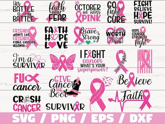 Cancer Awareness Svg Bundle Breast Cancer Svg Cut Files Etsy