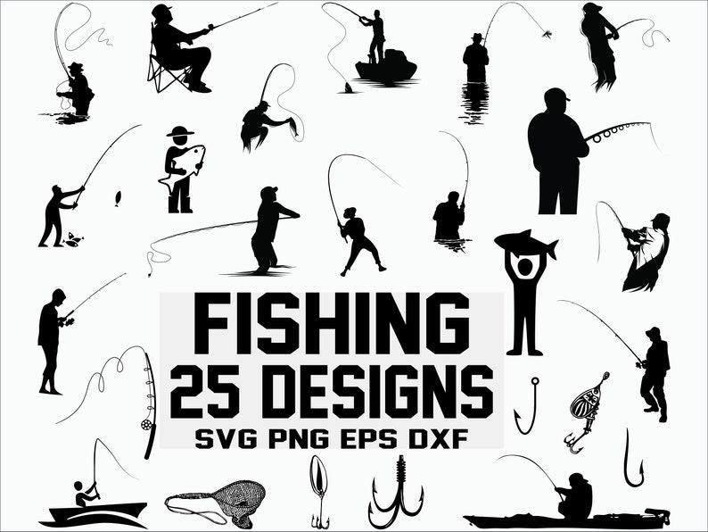 Fishing SVG Fisherman svg Fish svg clipart silhouette cut file cricut decal file digital file stencil file