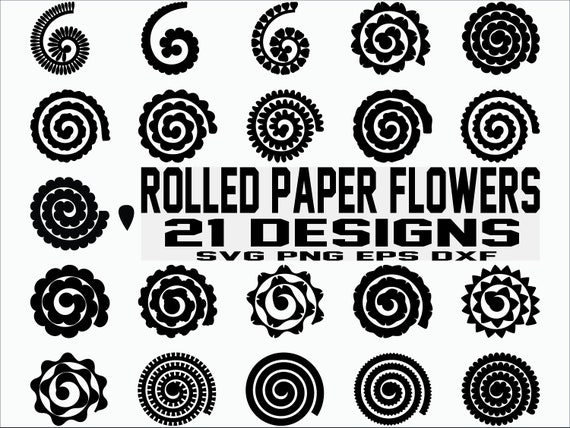 Rolled Paper Flowers Svg Flowers Template Origami Paper Etsy
