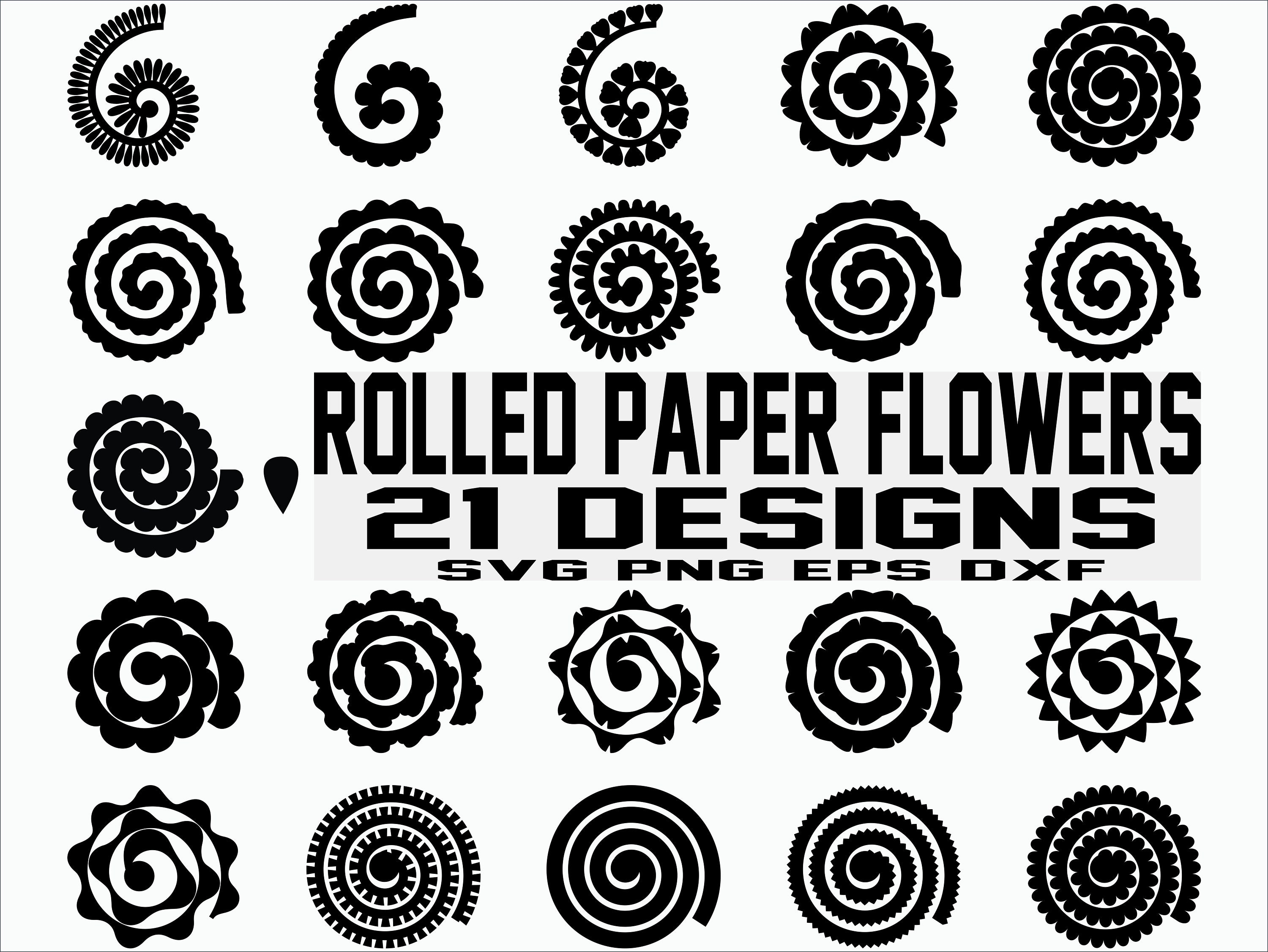 rolled paper flowers svg    flowers template    origami
