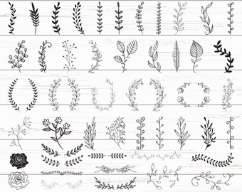 48 Leaves SVG / Hand Drawn Leaves SVG / Cut Files / Files for Cricut / Silhouette / Clipart / Vector